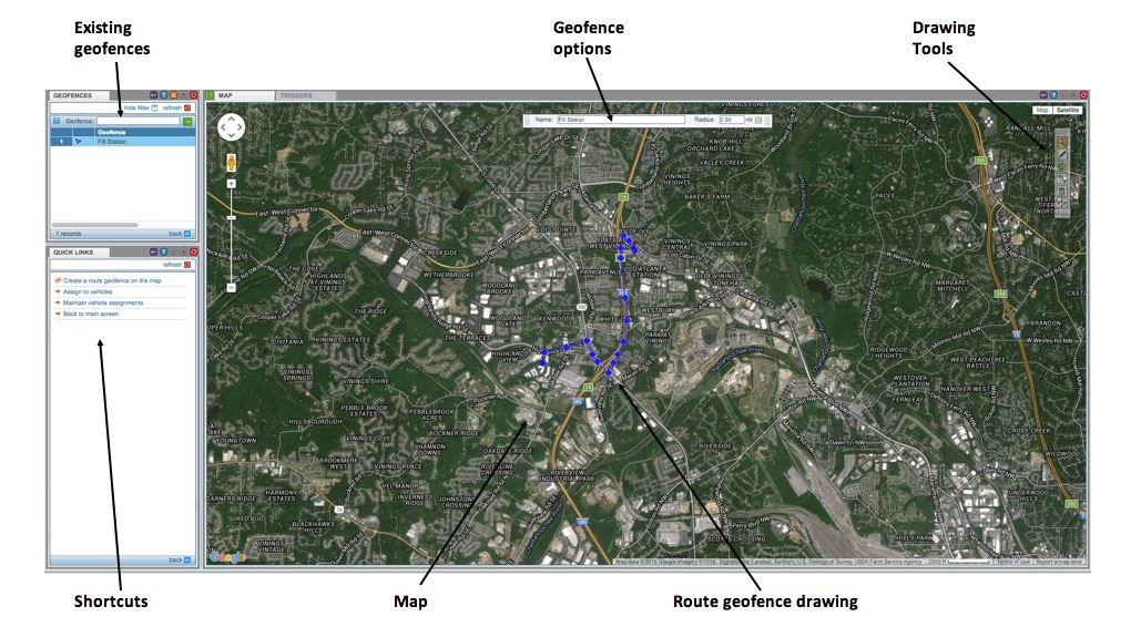 Route Geofence example - CarrierWeb®